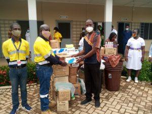 Newmont Ahafo mine presents PPEs to Hwidiem St Elizabeth Hospital