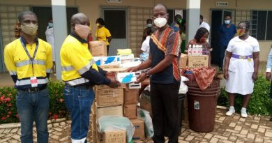 Newmont Ahafo mine presents PPEs to Hwidiem St Elizabeth Hospital