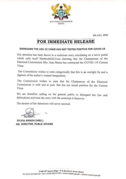 EC chair, Madam Jean Mensah