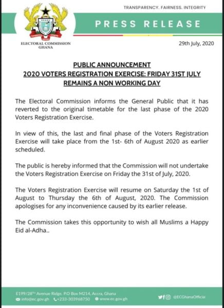 EC Suspends Voter Registration On Friday Over Eid-ul-Adha Celebration