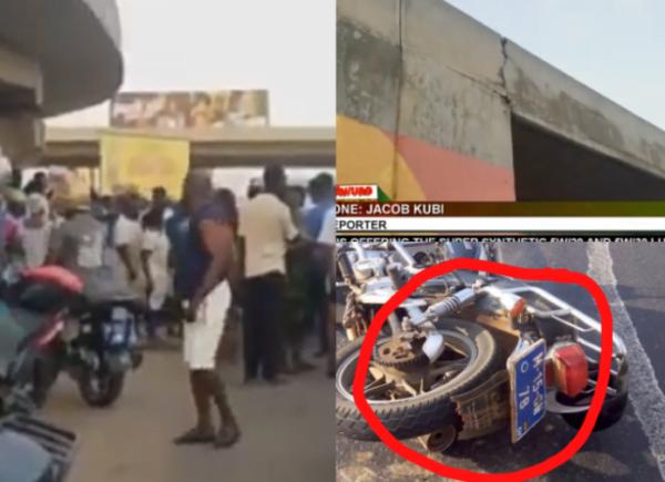 Watch Video: Okada Rider And Passenger Fall From Mallam-Junction Overhead
