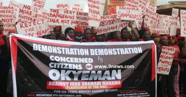 [Video] Okyeman Demonstrates Against Mahama For 'Sakawa Boys' Post