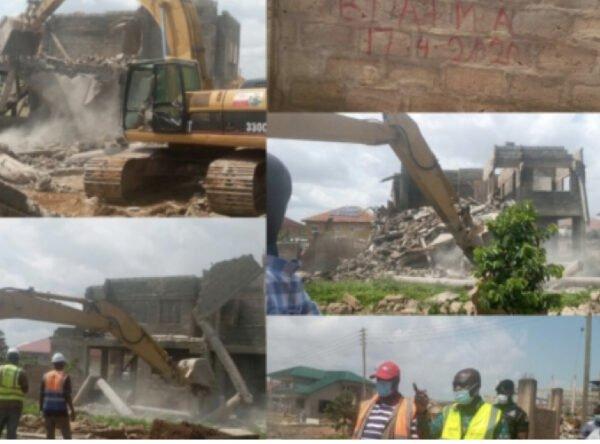 Government Pulls Down Buildings On American House-Adjiringanor Road