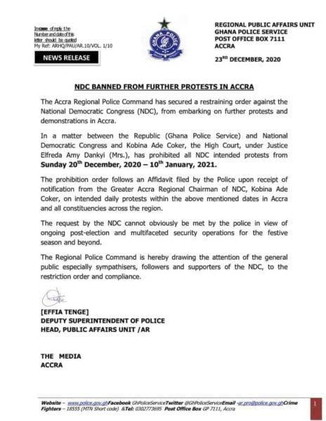 Document- NDC Banned From Further Protests In Accra