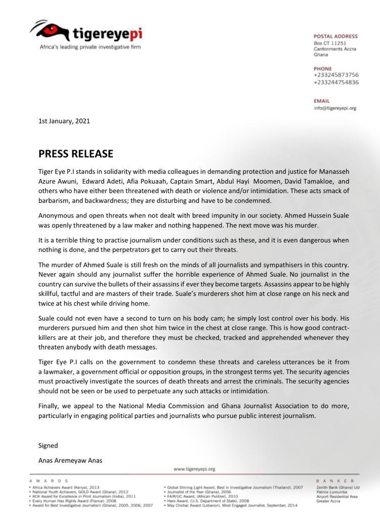 Anas media threat statement