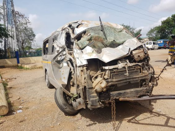 'Trotro' Crashed After Knocking Down 2 Robbers on Motorbike at Sowutuom