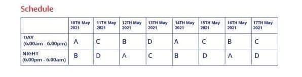 ECG Schedule