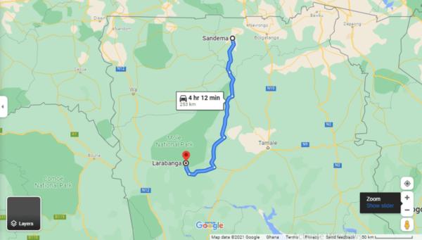 Estimated travel time from Sandema in the Upper East Region to Larabanga in the Savannah Region